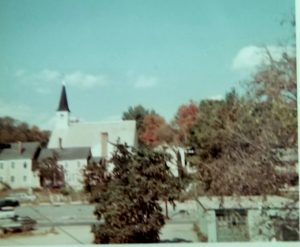 Church and Fall trees in 1968 Ayer, Mass.