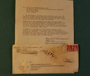 Form letter sent to Geneva Convention in 1971 about Vietnam War