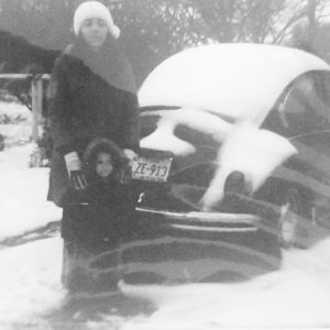 Woman, Boy, Super Beetle in the snow
