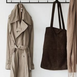 Trench coat on a hook